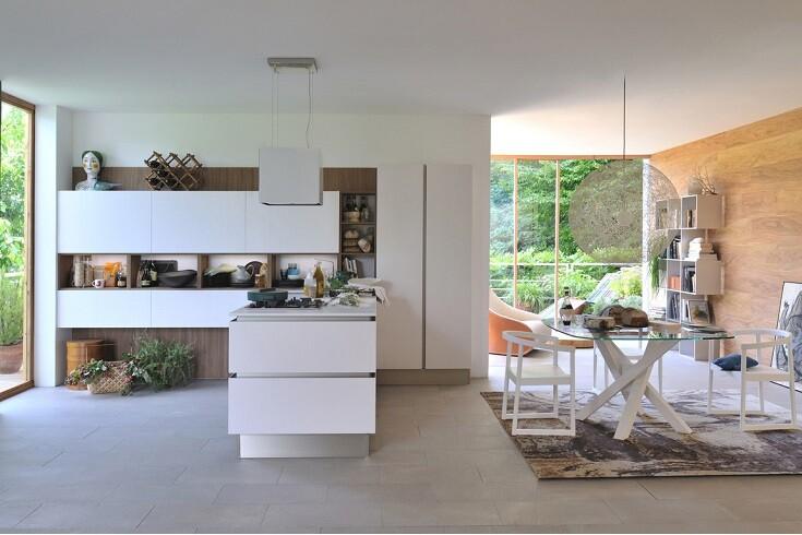 Cucine a vista con soggiorno